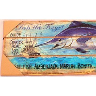 Fish The Keys Coral Hotel Swordfish Coctail Lounge Wooden Decor Sign