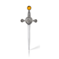 Pewter A.E. Williams Masonic Knot Kilt Pin with Amber colored stone