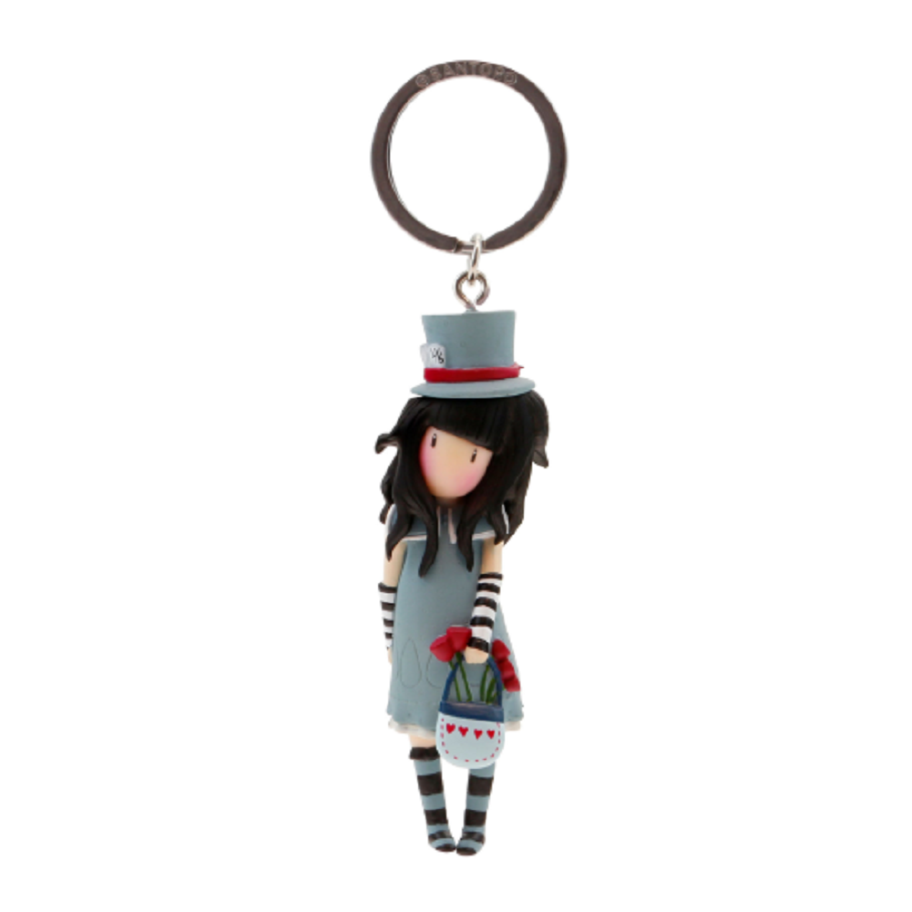 Santoro London Gorjuss The Hatter Little Girl Figurine Keyring Key Chain Charm