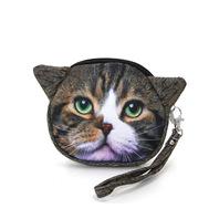Cat Kitten Face Satin Coin Purse Bag Handbag Wristlet