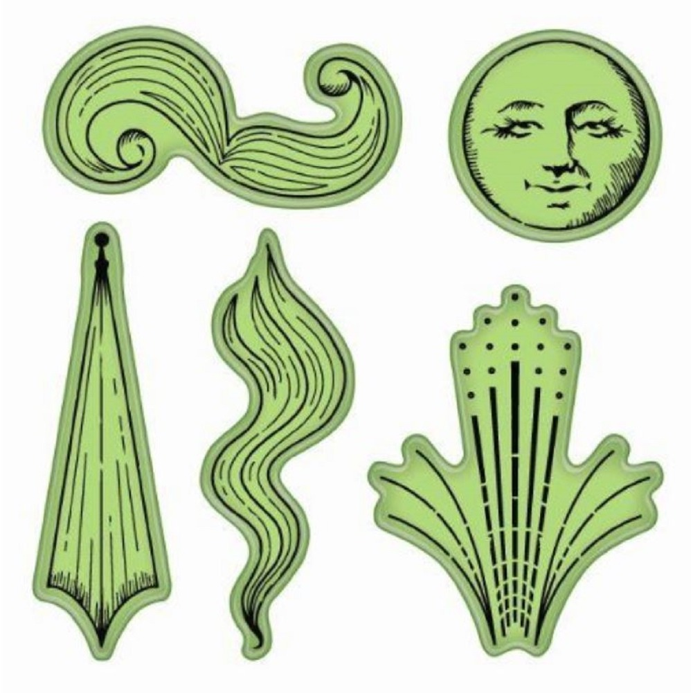 Inkadinkado Celestial Images Moon Wind Sky Cling Rubber Stamp