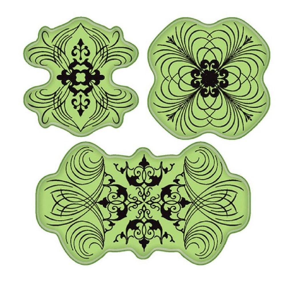 Inkadinkado Stamping Elegant Swirl Motifs Design Elements Cling Rubber Stamp