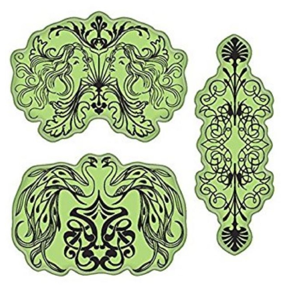Inkadinkado Elegant Nouveau Design Inkblots Cling Rubber Stamp