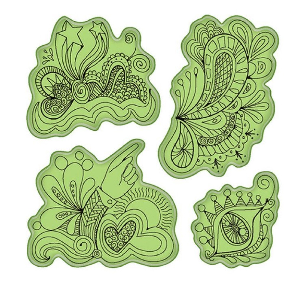 Inkadinkado Stamping Gear Whimsical Doodle Fun Drawing Sketch Cling Rubber Stamp