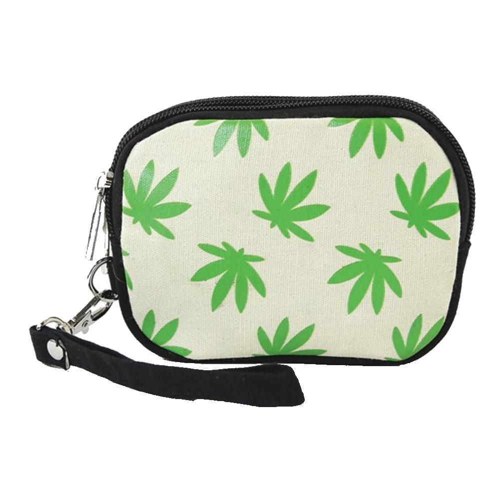 Fresh Green Palmate Leaves Wristlet Canvas Material Wallet for Handbag Purse
