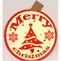 Merry Christmas Vintage Inspired Distressed Round Tree Decor Sign Winter White
