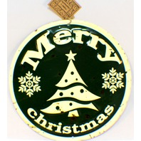 Merry Christmas Vintage Inspired Distressed Round Tree Decor Sign Evergreen