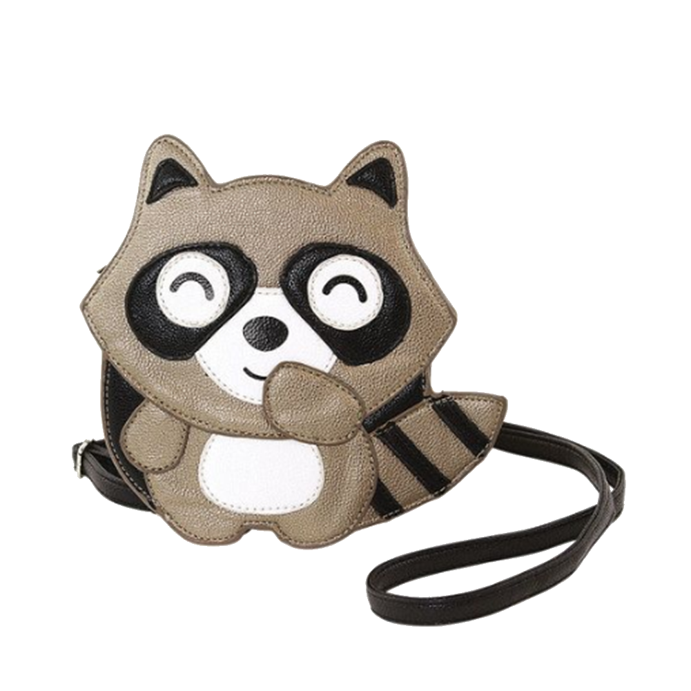 Smiling Cute Little Giggling Raccoon Wristlet Coin Purse Bag