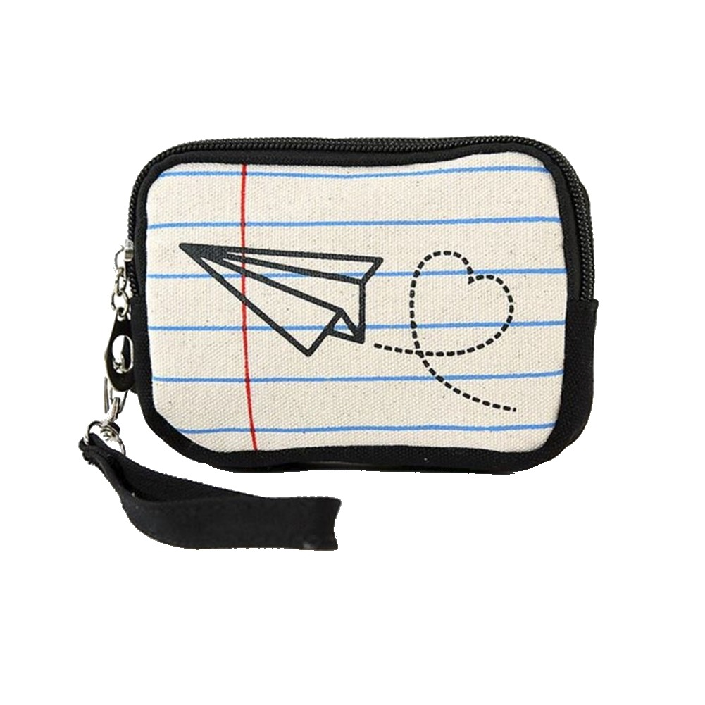 Paper Airplane on Note Paper Wristlet Canvas Material Wallet for Handbag Purse