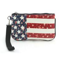 Floral Americana Coated Canvas Wristlet Wallet Coin Purse Bag Flag