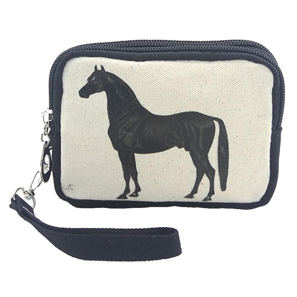 Vintage Print Horse Stallion Wristlet Canvas Material Wallet for Handbag Purse
