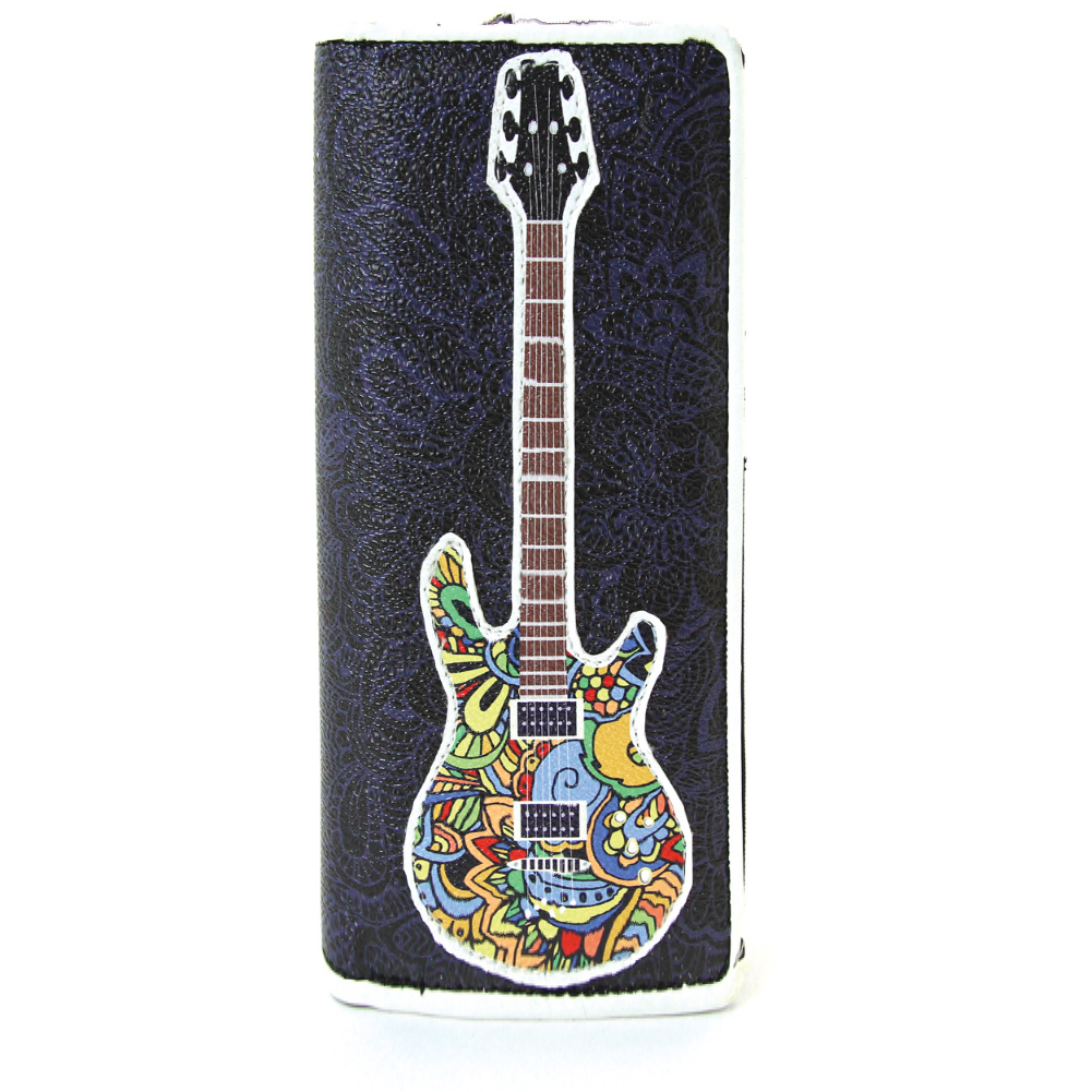 Musically Inspired Musical Note Electric Guitar Vinyl Bi-Fold Wallet