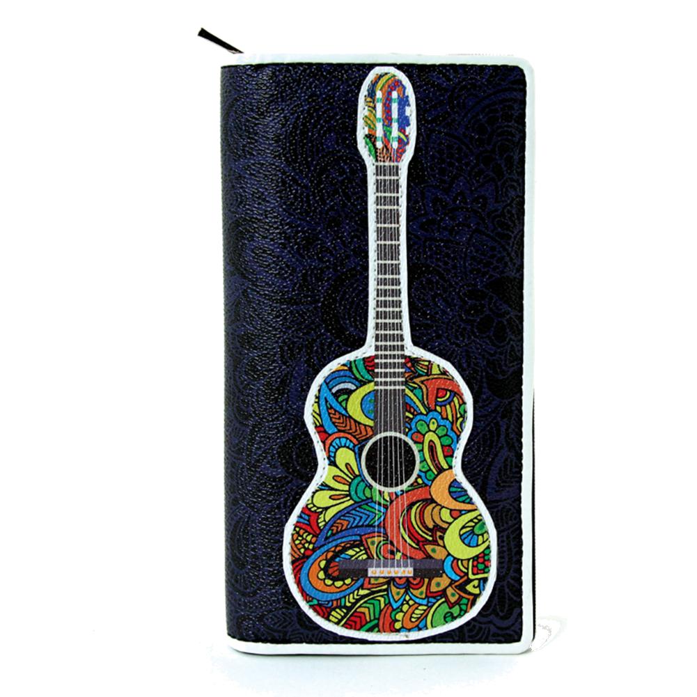 Musically Inspired Musical Note Acoustic Guitar Vinyl Bi-Fold Wallet