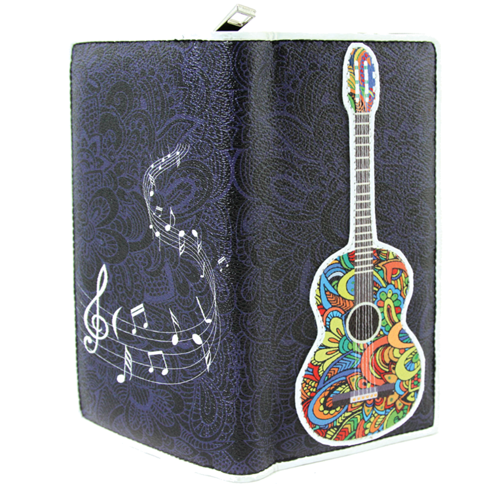 Musically Inspired Musical Note Acoustic Guitar Vinyl Bi-Fold Wallet