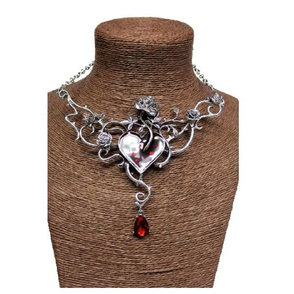 Charmed Heart and Rose Silver Toned necklace Jeweled Teardrop Rhinestone Accent