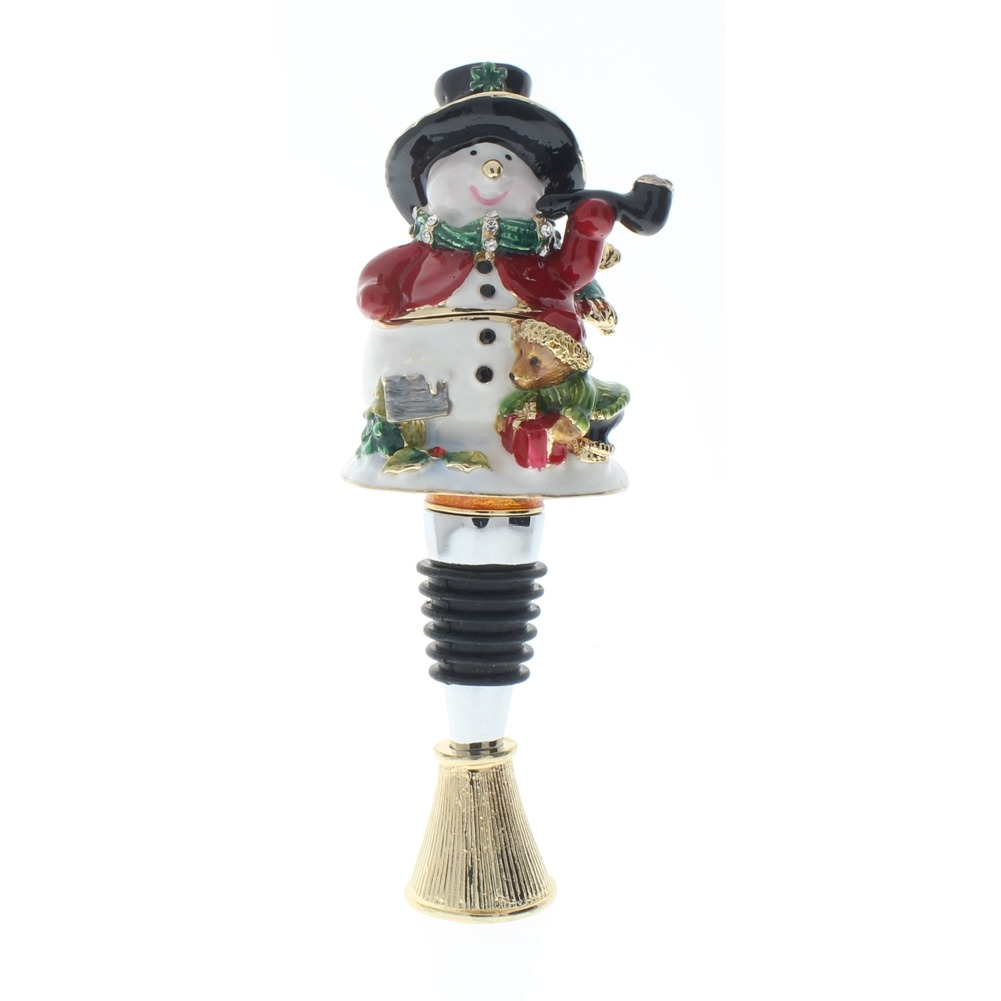 Ciel Jeweled Wine Bottle Stopper Collectible Trinket Box Stand Snowman