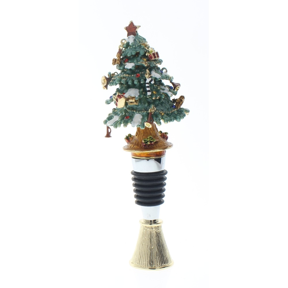 Ciel Jeweled Wine Bottle Stopper Collectible Trinket Box Stand Christmas Tree