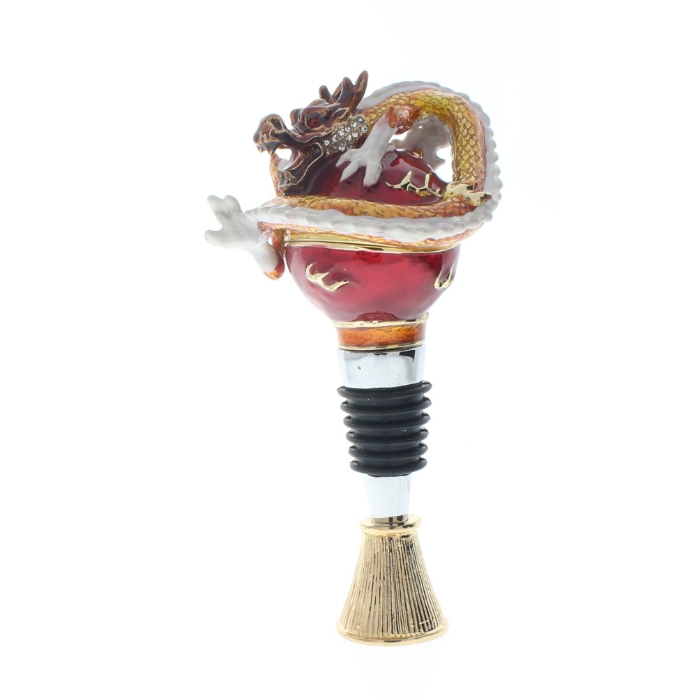 Ciel Jeweled Wine Bottle Stopper Cork Collectible Trinket Box with Stand Dragon