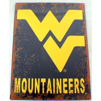 West Virginia Mountaineers Wv Distressed Metal Sign Wall Plaque New #80192