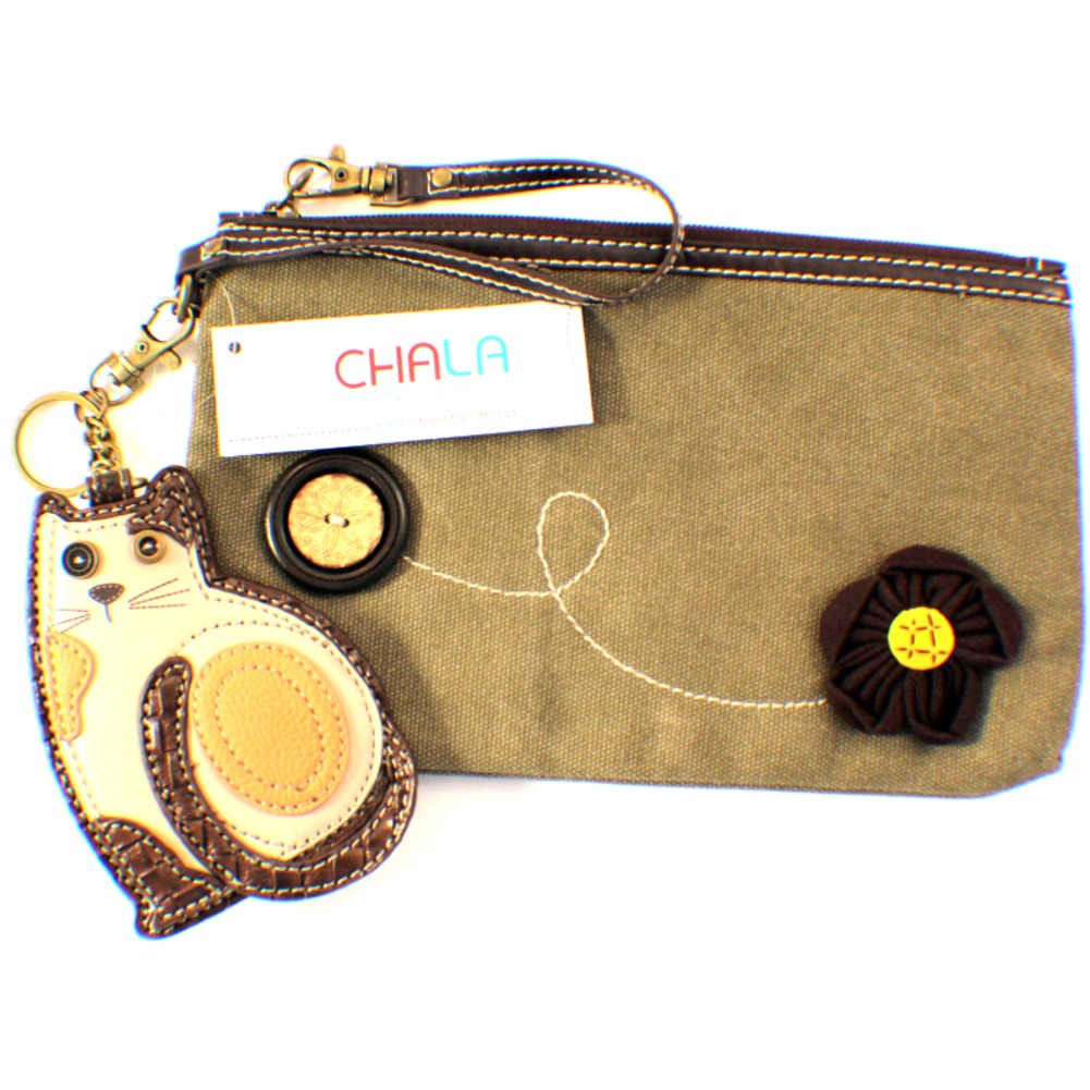 Chala Kitty Cat Purse Clutch Leather Credit Card Coins Key Chain