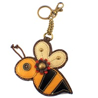 Chala Bumble Bee Whimsical Inspired Key Chain Coin Purse Leather Bag Fob Charm