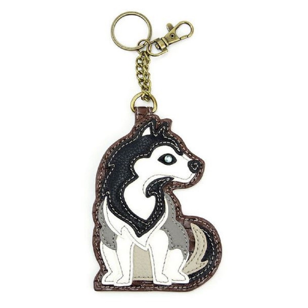 Chala Husky Puppy Dog Key Chain Coin Purse Leather Bag Fob Charm New