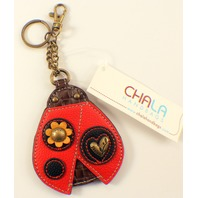 Chala Lady Bug Whimsical Inspired Key Chain Coin Purse Leather Bag Fob Charm