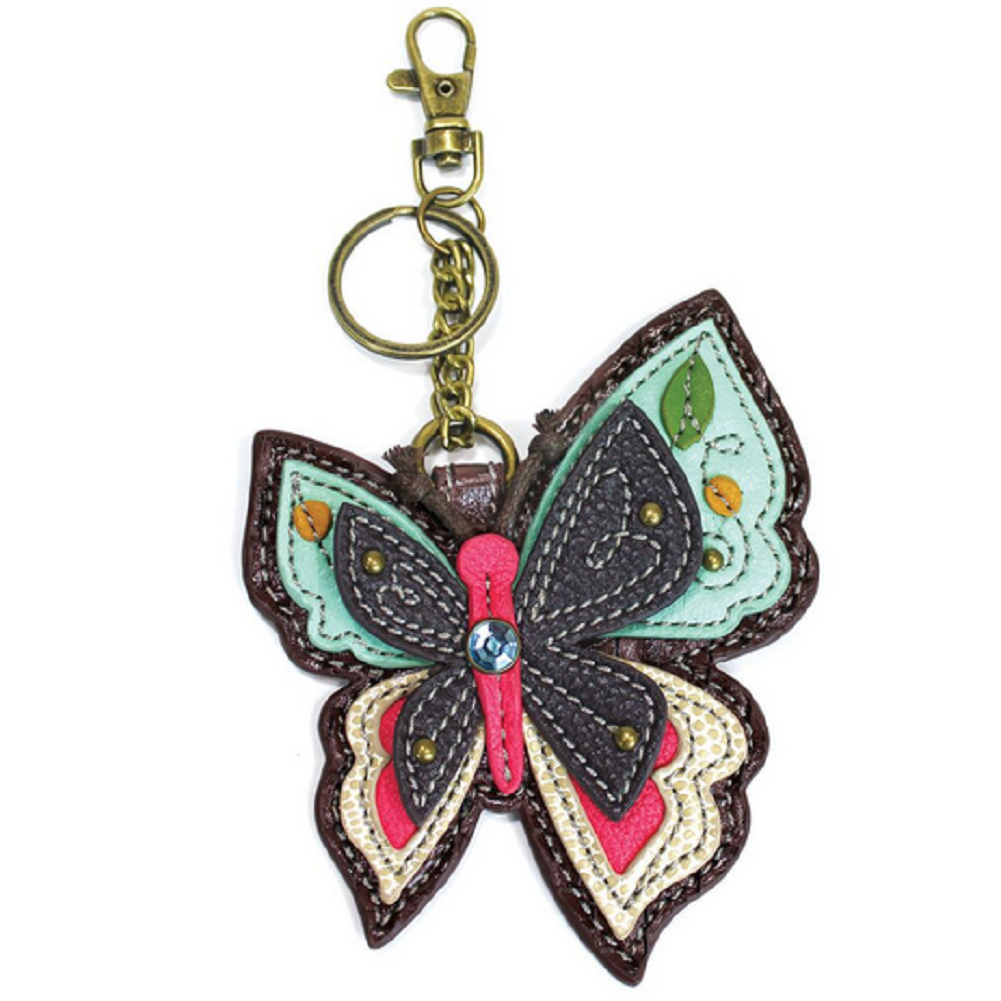 Chala Whimsical Butterfly Key Chain Coin Purse Leather Bag Fob Charm New