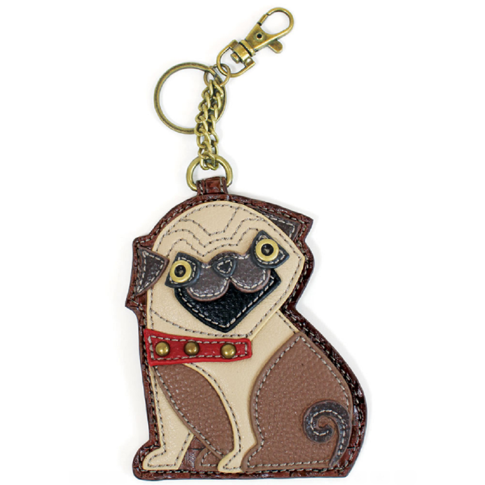 Chala Pug Puppy Dog Key Chain Coin Purse Leather Bag Fob Charm New