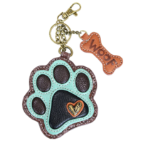 Chala Puppy Dog Paw Print Key Chain Purse Leather Bag Fob Charm New