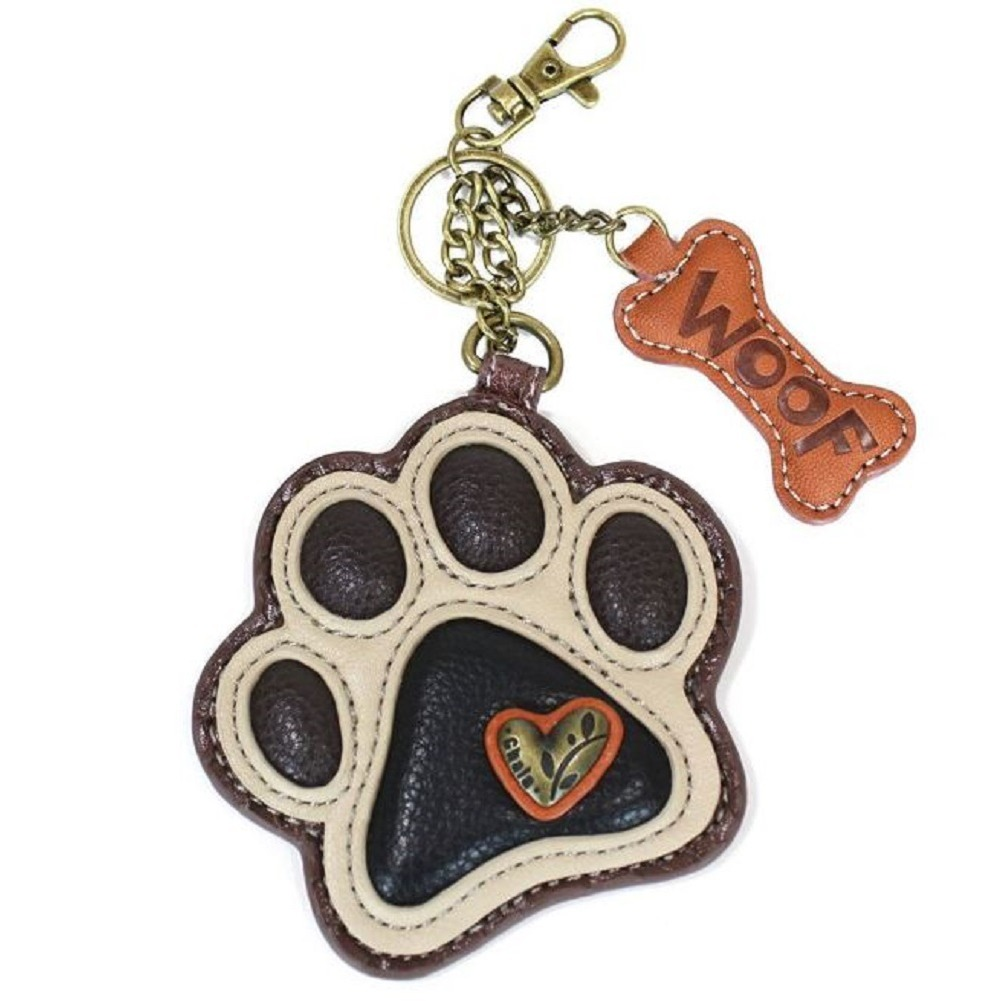 Chala Puppy Dog Paw Print Key Chain Purse Leather Bag Fob Charm Beige