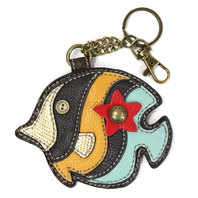 Chala Tropical Fish Whimsical Inspired Key Chain Coin Purse Leather Bag Fob Charm