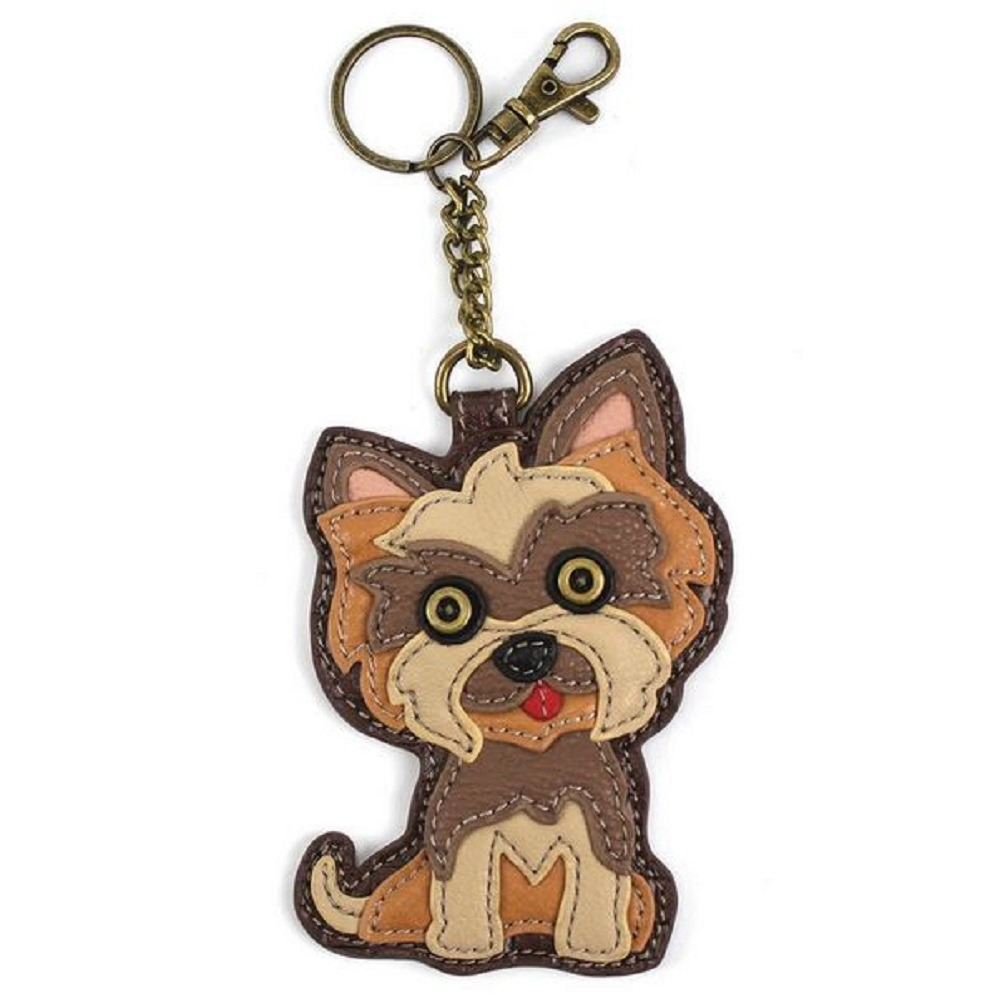 Chala Yorkie Yorkshire Terrier Puppy Dog Key Chain Coin Purse Leather Bag Fob Charm New