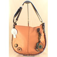 Chala Purse Handbag Leather Hobo Cross Body Convertible ButTerfly Pink