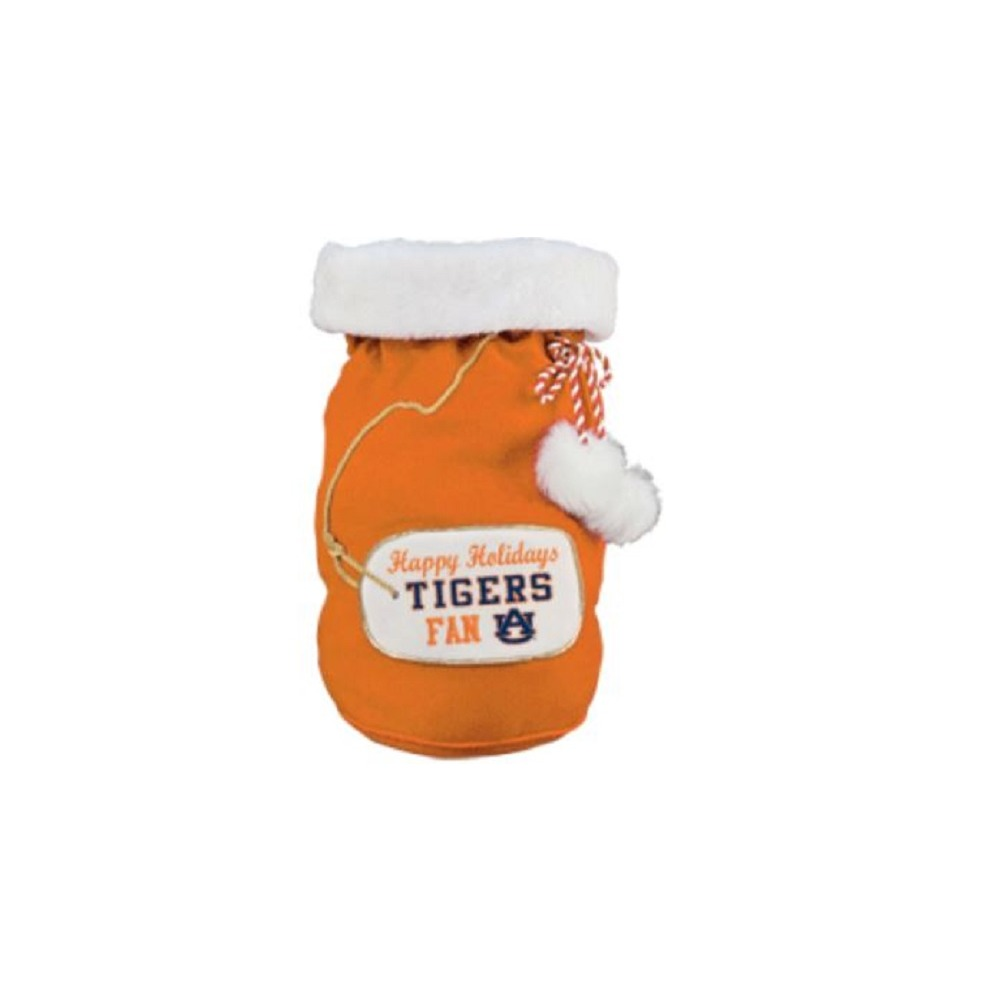 Happy Holidays Auburn University Tigers Fan Santa Drawstring Holiday Gift Sack Bag