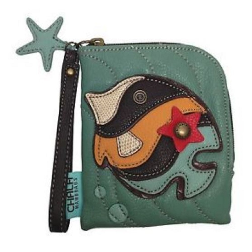 Charming Chala Tropical Fish Teal Purse Wallet Credit Cards Coin Wristlet
