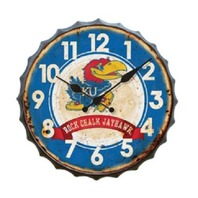 Kansas Ku Rock Chalk Jayhawk Metal Distressed Bottle Top Clock Bar Decor