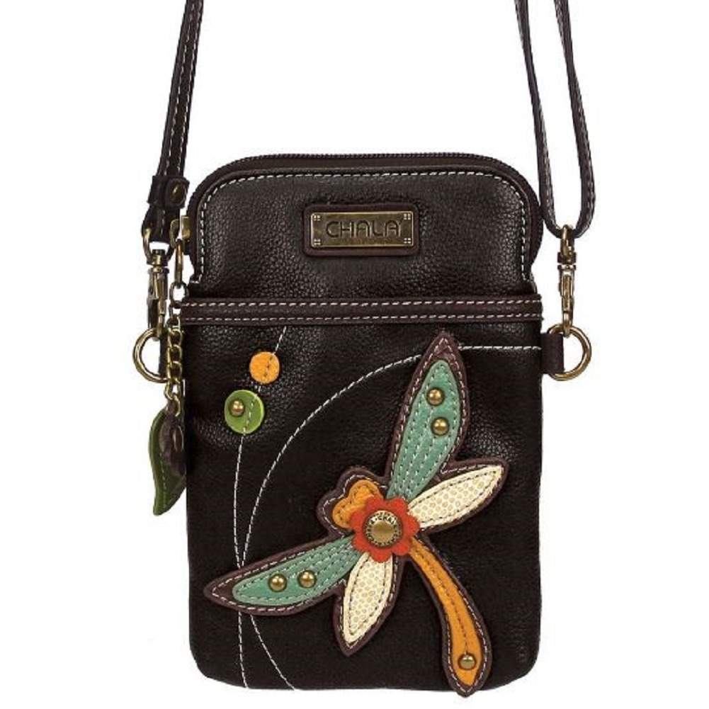 Charming Chala Daring Dragonfly Black Cell Phone Purse Mini Crossbody Bag