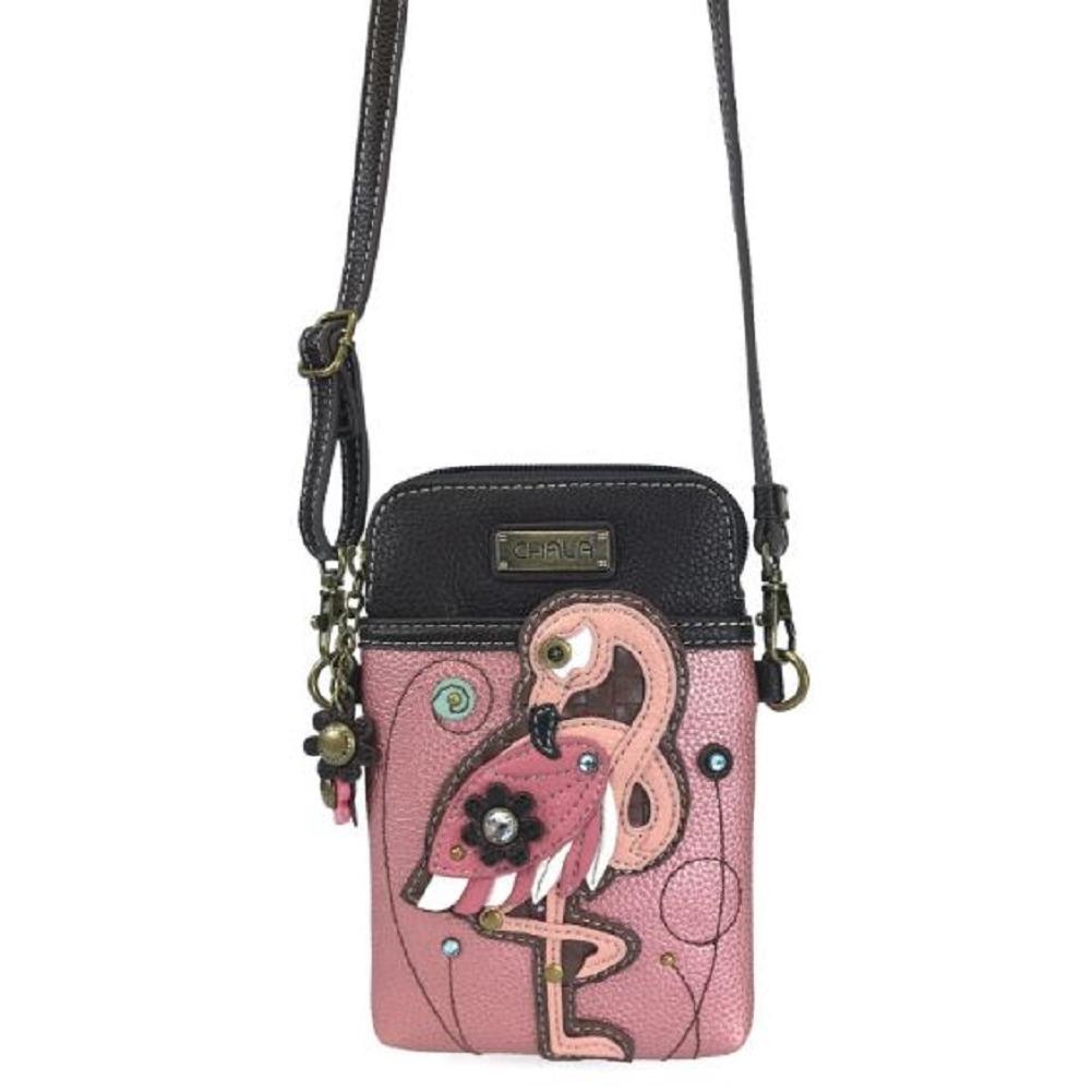 Charming Chala Fancy Flamingo Bird Cell Phone Purse Mini Crossbody Bag