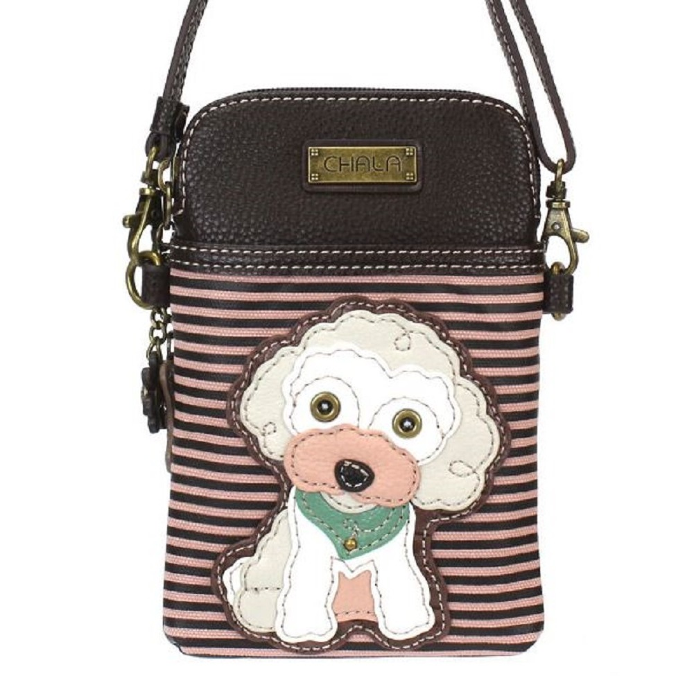 Charming Chala Puppy Dog White Poodle Phone Purse Mini Crossbody Bag