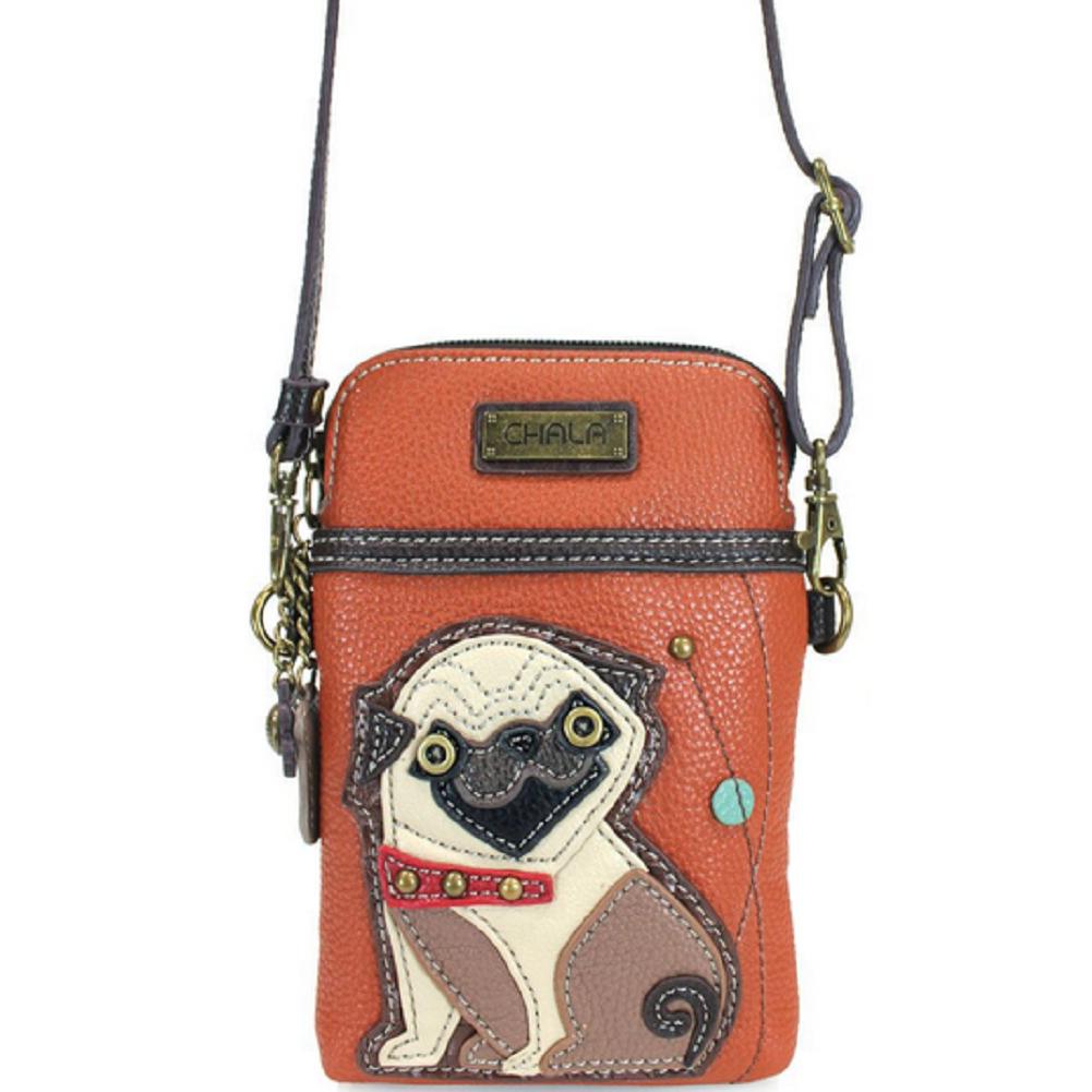 Charming Chala Handsome Pug Puppy Dog Cell Phone Purse Mini Crossbody Bag
