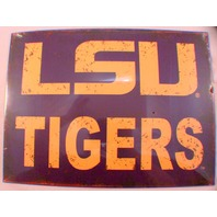 Lsu University Tigers NCAA Distressed Metal Sign Wall Plaque New