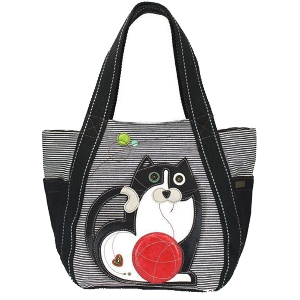 Chala Purse Handbag Leather & Canvas Carryall Tote Bag Fat Cat Kitten