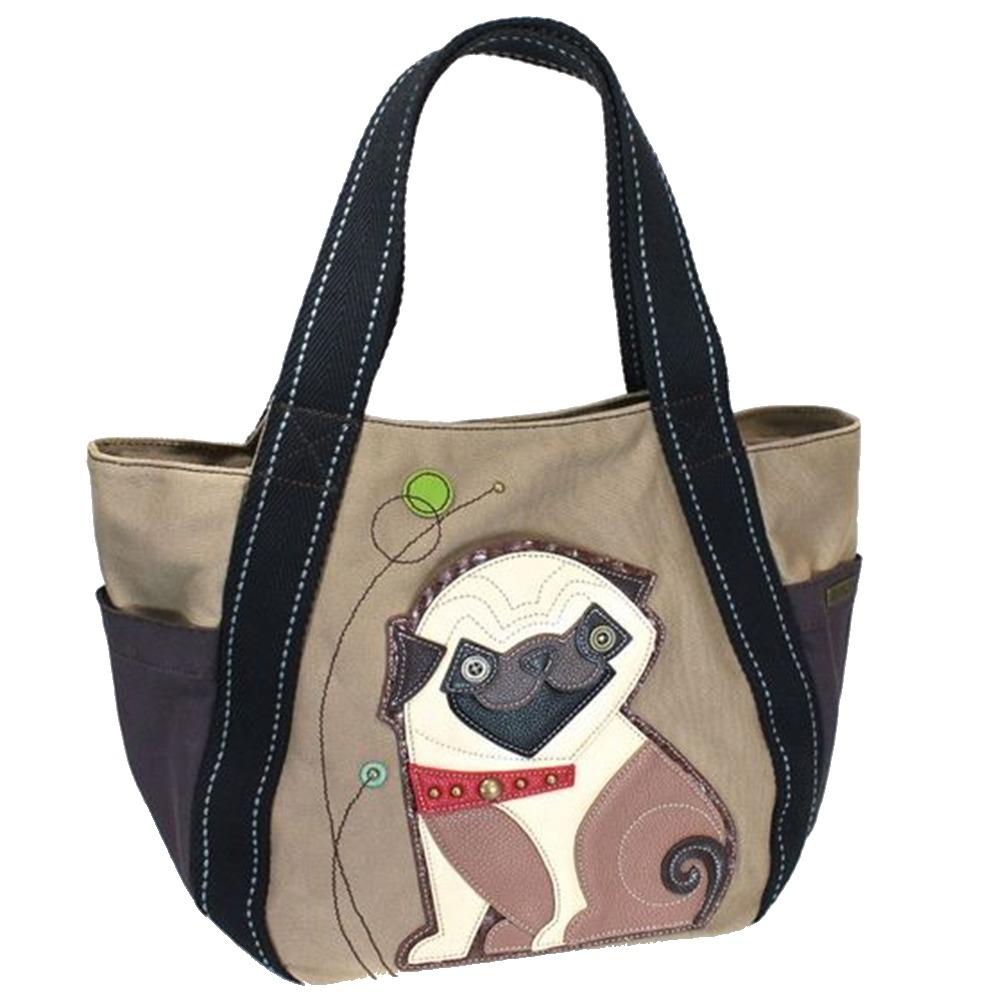 Chala Purse Handbag Leather & Canvas Carryall Tote Bag Playful Pug Puppy Dog
