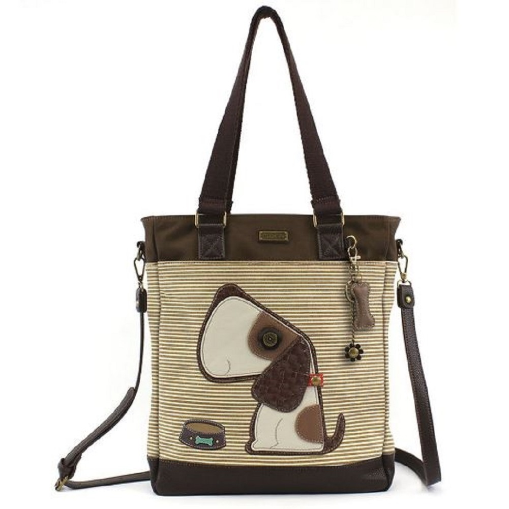 Charming Chala Purse Handbag Leather & Canvas Work Tote Bag Puppy Dog