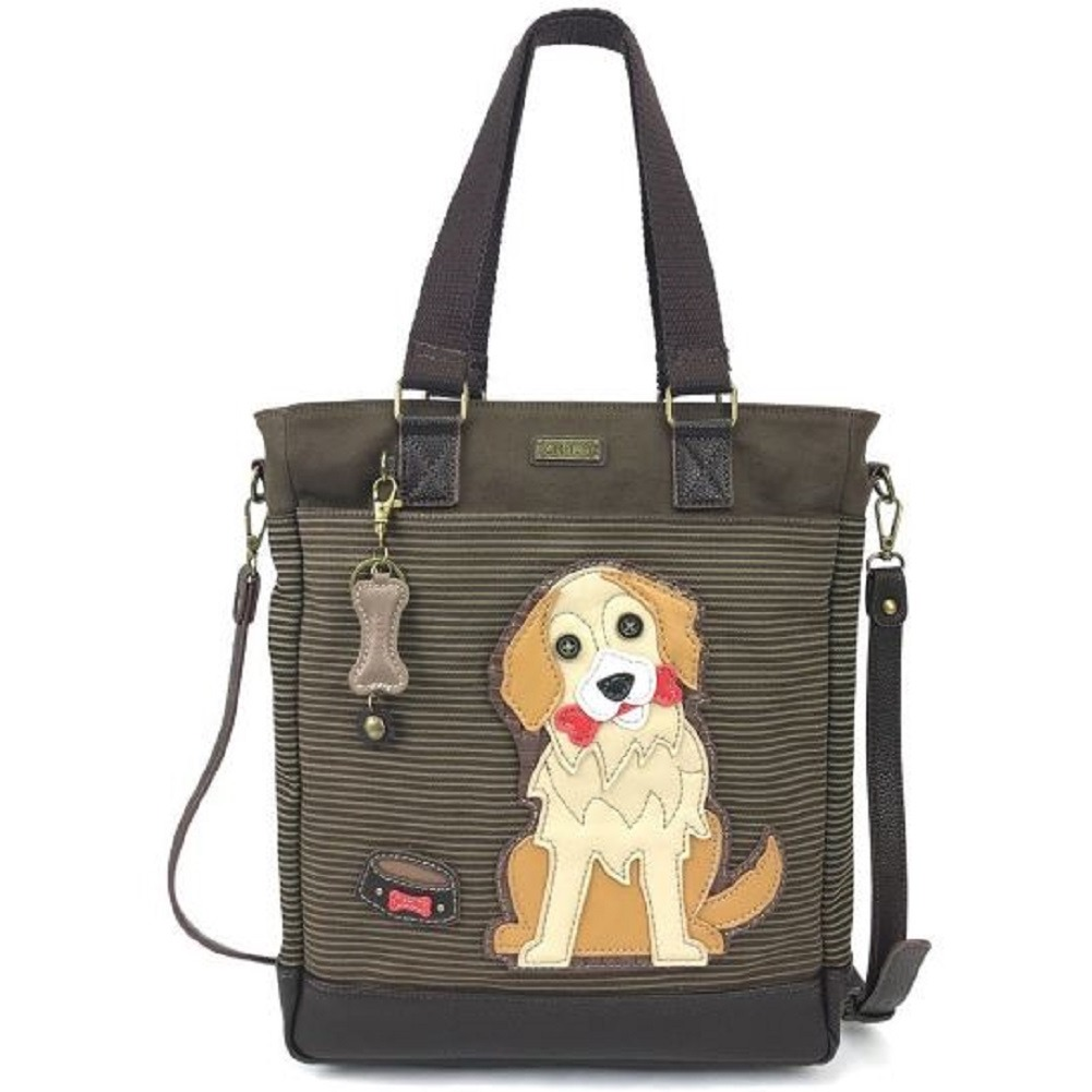 Chala Purse Handbag Leather & Canvas Work Tote Bag Golden Retriever Puppy Dog