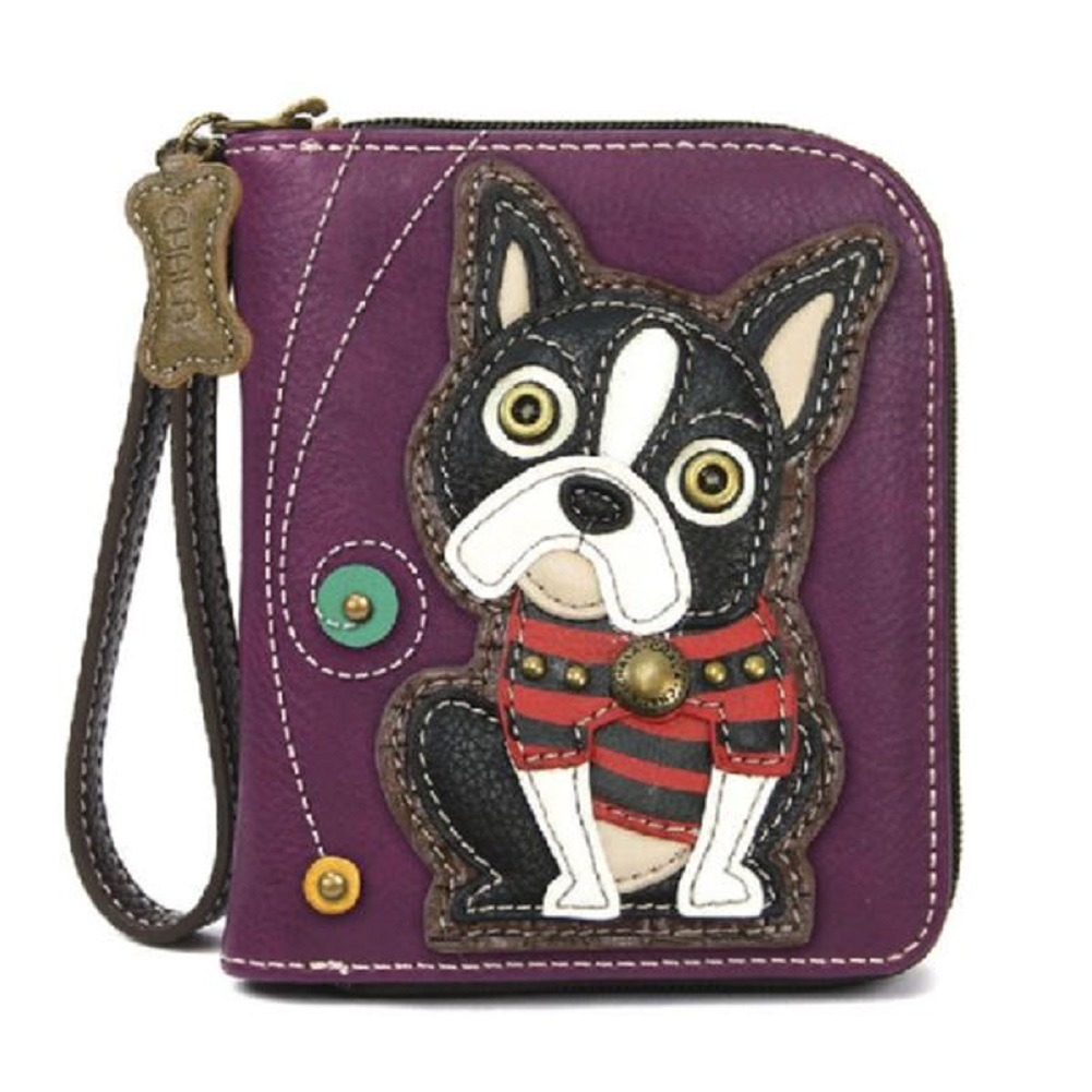 Charming Chala Boston Terrier Dog  Puppy Purse Wallet Credit Cards Coin Wristlet