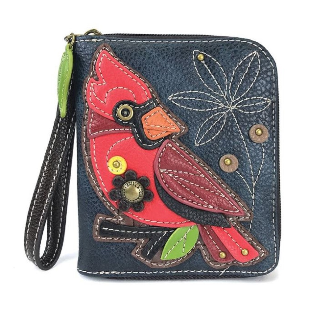 Charming Chala Little Cardinal Bird Blue Purse Wallet Credit Cards Coins Wristlet