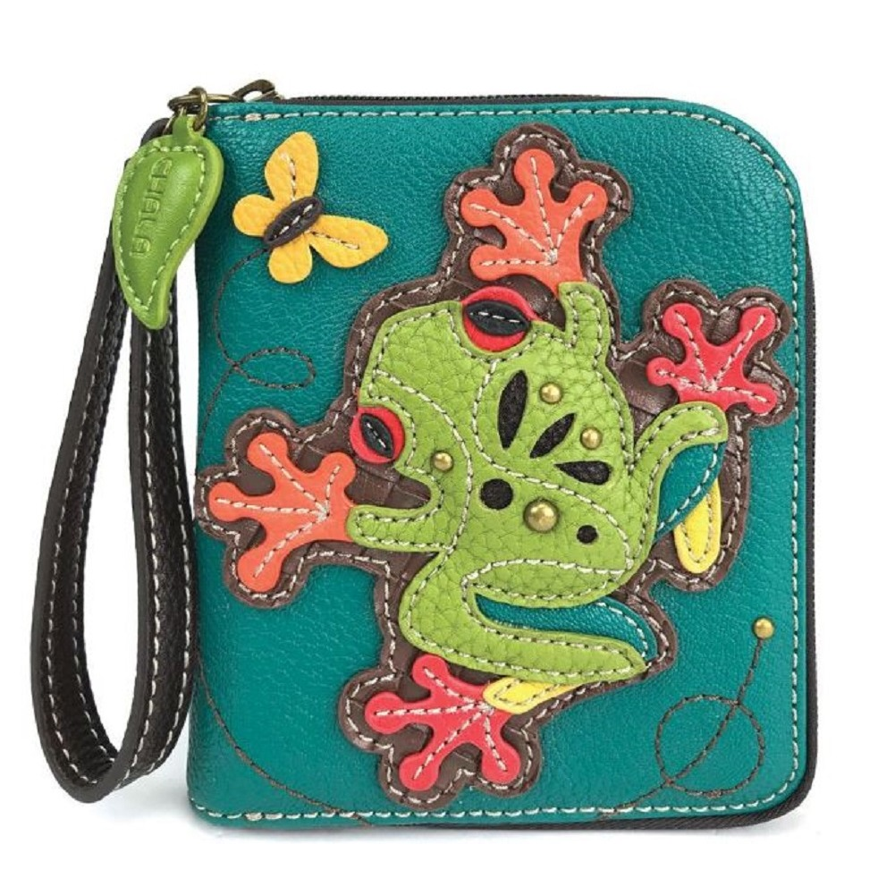 Charming Chala Tropical Tree Frog Purse Wallet Credit Cards Coins Wristlet