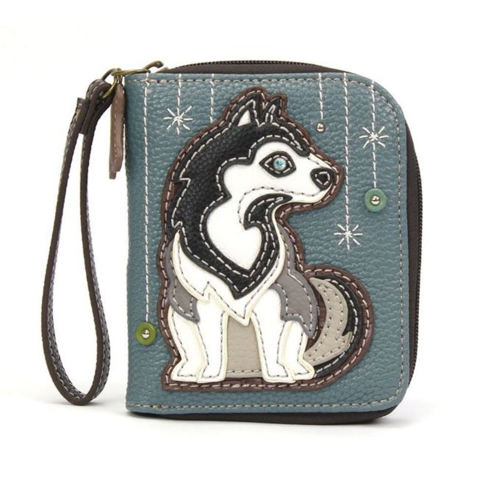 Charming Chala Husky Puppy Dog Purse Wallet Credit Cards Coins Wristlet